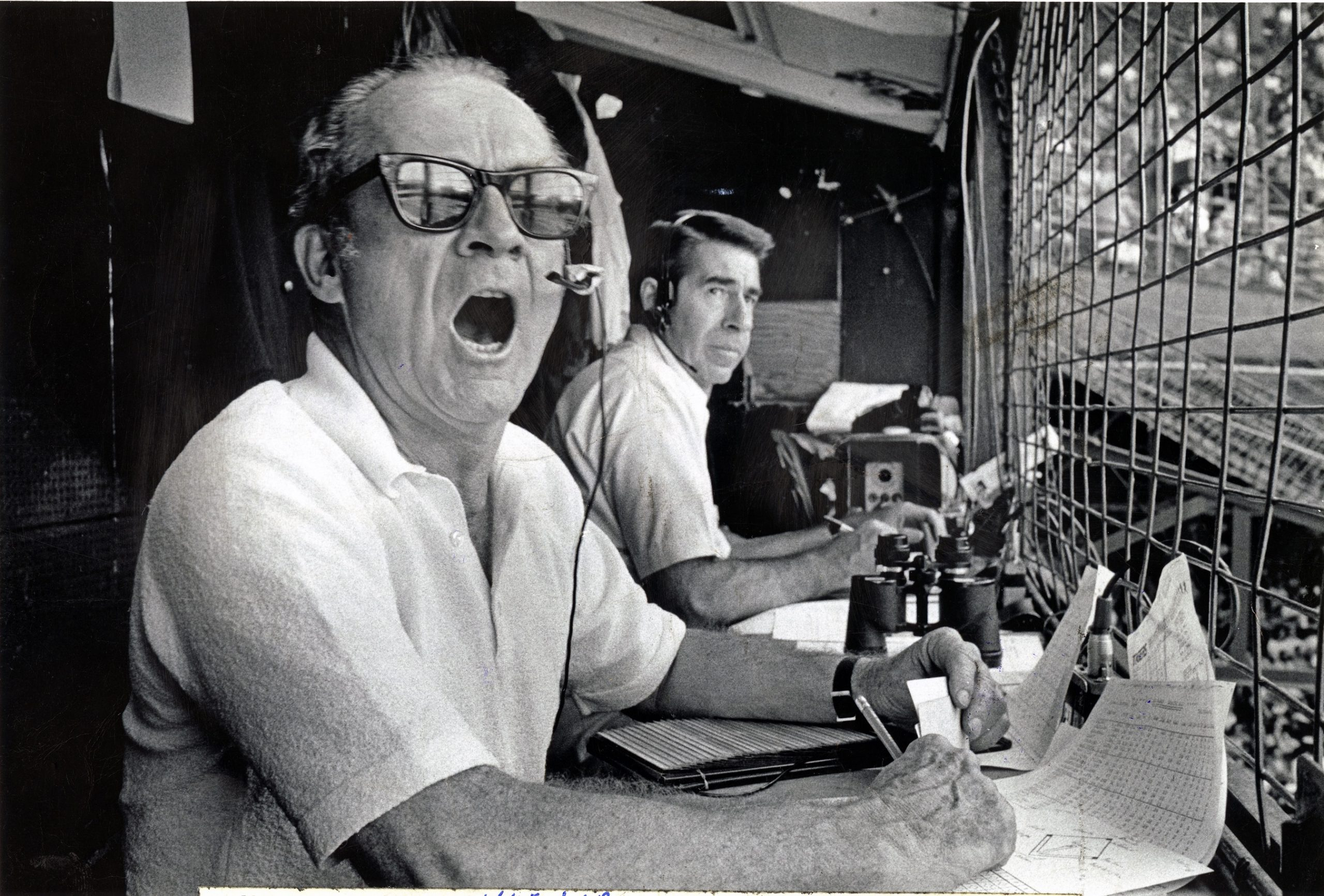 Ernie Harwell and Paul Carey Commentating in sports